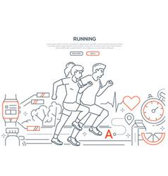 running - modern line design style web banner vector image