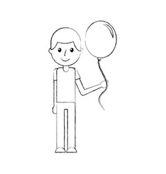 school young boy with balloon celebration teacher vector image vector image