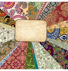 Scrap background ornamental patchwork technique vector