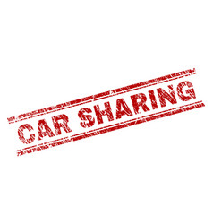Scratched textured car sharing stamp seal vector