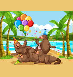 Seal group in party theme cartoon character vector