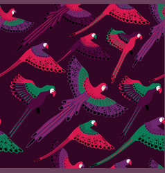 seamless pattern with flying parrots vector image