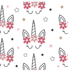 seamless pattern with unicorn face and cloud vector image