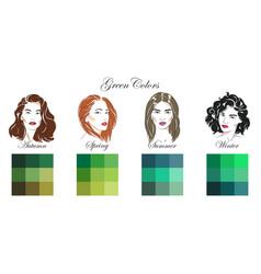 seasonal color analysis green colors vector image
