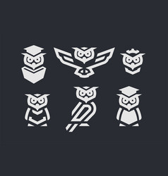 set linear owl logo or design template on dark vector image