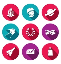 Set of a space flight icons spaceport vector