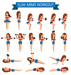 Set of cardio exercise for slim arms workout vector