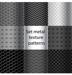 Set of metal texture seamless patterns vector image