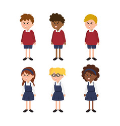 Set students girls and boys with school uniform vector