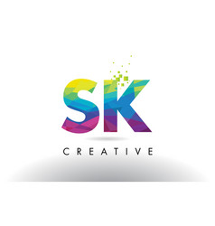 Sk s k colorful letter origami triangles design vector