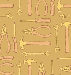 Sketch workers tools in vintage style vector image