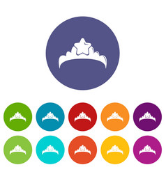 small princess crown icons set color vector image