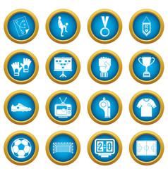 Soccer football icons blue circle set vector