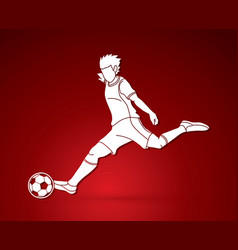 soccer player running and kicking a ball action vector image