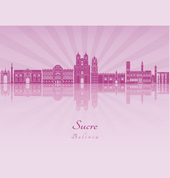 Sucre skyline in purple radiant orchid vector
