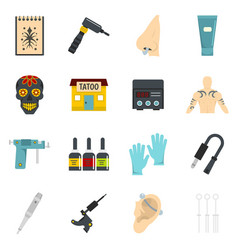 Tattoo parlor icons set flat vector