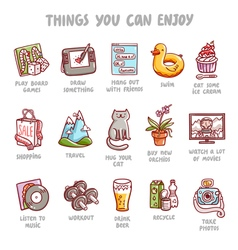 Things you can enjoy icons set vector image