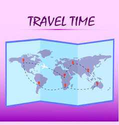 Travel timefolded world map with route on pink vector