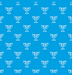 trophy pattern seamless blue vector image