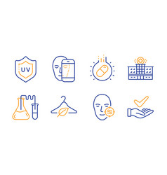 Uv protection capsule pill and problem skin icons vector