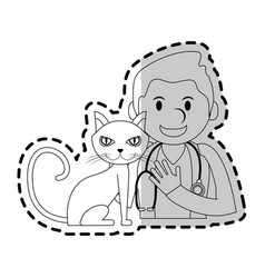 veterinarian with animal icon image vector image