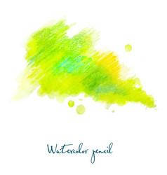 Watercolor pencil in green vector