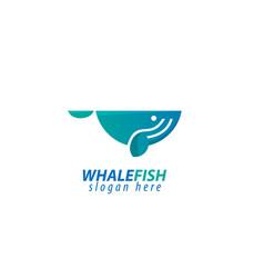 Whale fish design logo vector
