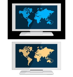White lcd panel with world map vector