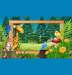 wild animals in wooden frame vector image