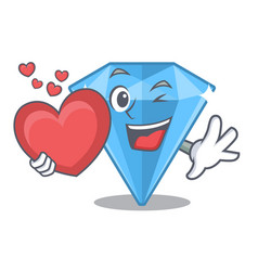 With heart sapphire gem in a mascot box vector