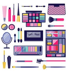 Women eye make-up cosmetic flat icon set vector