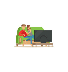 young couple watching tv people sitting on a sofa vector image