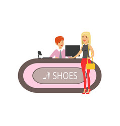 young woman buying shoes in a shoe store girl vector image