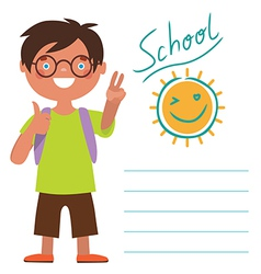 Card with schoolboy vector image