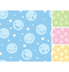 Emoticons four seamless patterns backgrounds vector image