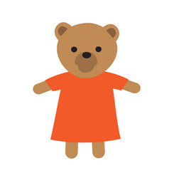funny toy icon of bear in dress vector image vector image