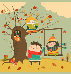 happy kids ride on a swing in the autumn forest vector image vector image