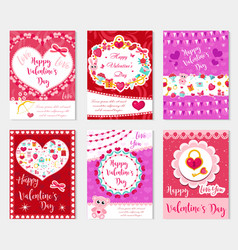 happy valentine s day set poster invitation vector image vector image