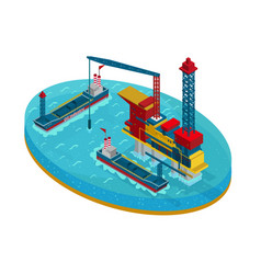 isometric oil extraction in sea concept vector image vector image
