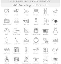 Sewing ultra modern outline line icons for vector image