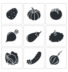 Vegetables set of nine Icons vector image vector image