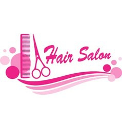 hair salon sign with scissors and design elements vector image vector image