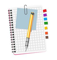 notebook with colored bookmarks vector image