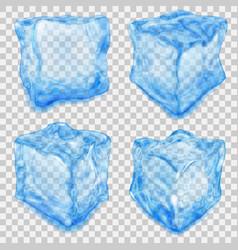 Set of transparent light blue ice cube vector