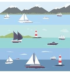 Ship traveling island landscape sailing vector image vector image