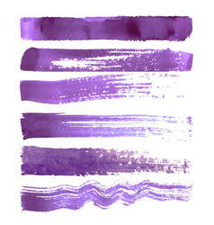 set of purple brush strokes vector image