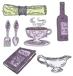 Engraved restaurant set vector image