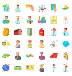 money career icons set cartoon style vector image vector image