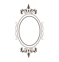 retro oval frame classic ornate element line vector image vector image
