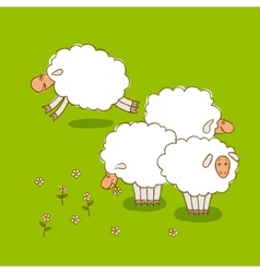 White Sheep Grazing On a Green Meadow vector image